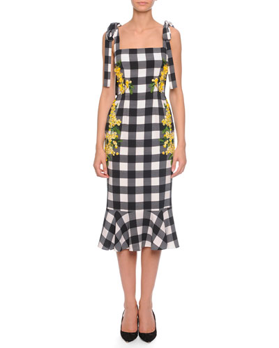 Floral-Embroidered Buffalo Check Tie-Shoulder Dress, Black/White