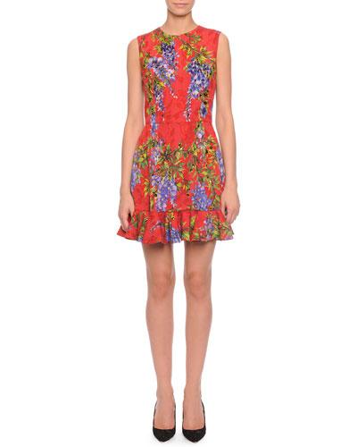 Wisteria-Print Flounce-Hem Dress, Red Multi
