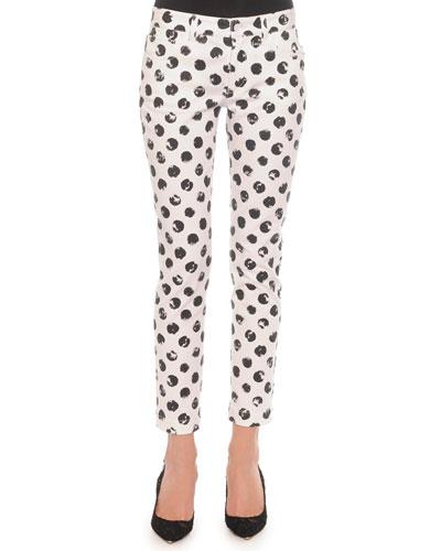 Painted Polka Dot Skinny Jeans, White/Black