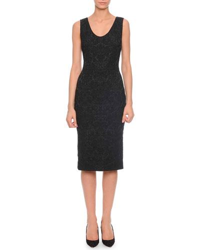 Lace Midi Tank Dress, Black