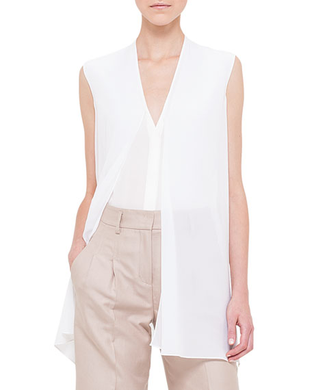 Akris Sleeveless Scarf-Front Top, Calcite