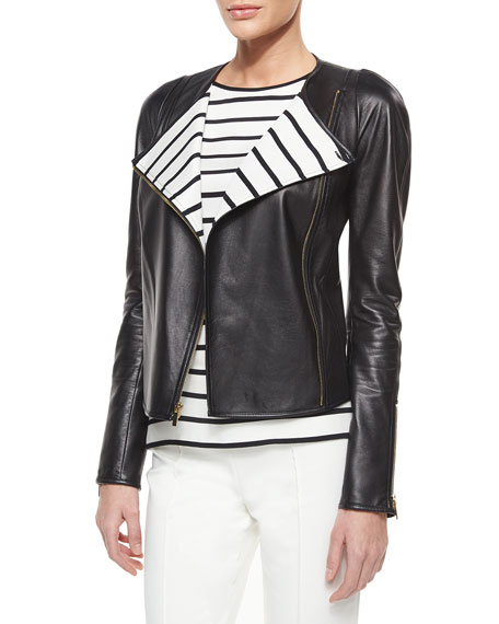 St. John Collection Luxe Napa Leather Striped-Lapel Jacket