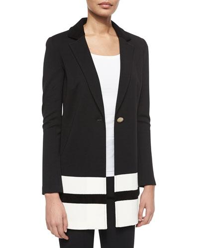 Contrast-Striped Velvet-Trimmed Blazer