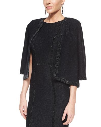 Shimmer Texture 3/4-Sleeve Topper Jacket