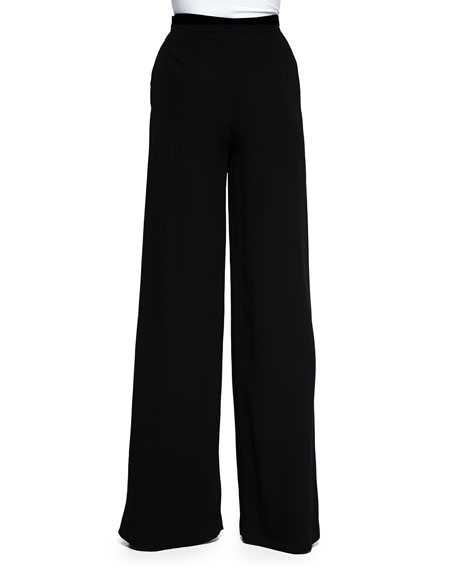 High-Waisted Wide-Leg Pants, Black