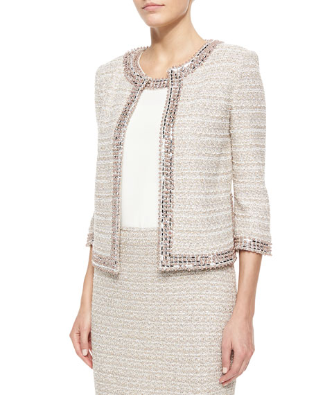 St. John Collection Organic Texture Beaded Tweed Jacket
