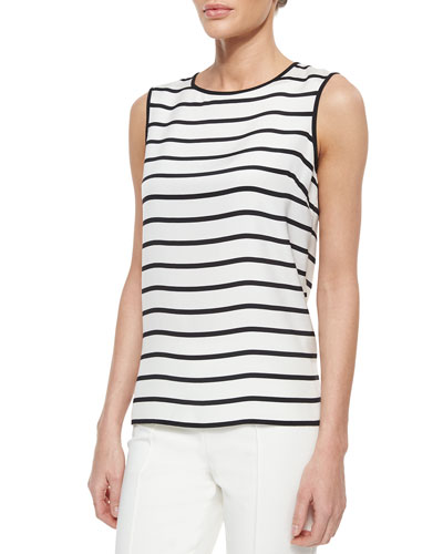 Catalina Striped Silk Stretch Tank