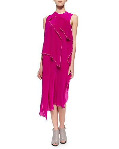 Asymmetric Fold-Draped Dress, Fuchsia