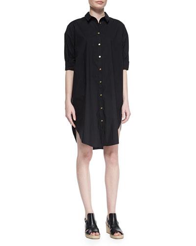 Short-Sleeve Button-Front Shirtdress, Black