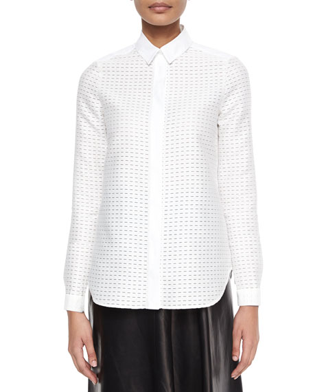 Dash-Pattern Fil Coupe Blouse, White