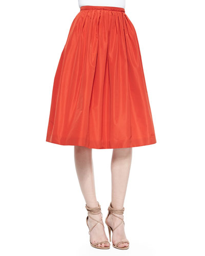 Pleated Taffeta Full Skirt, Orange Red