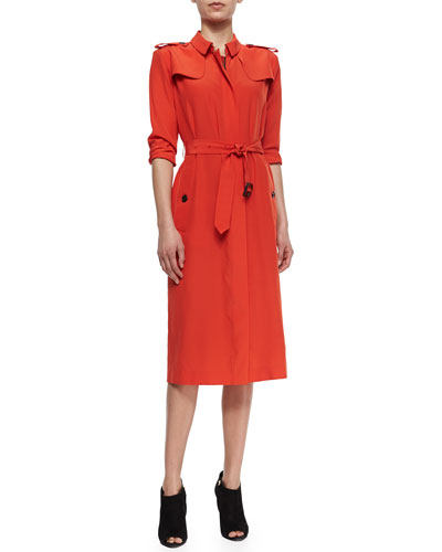Safari Pocket-Detailed Shirtdress, Orange Red