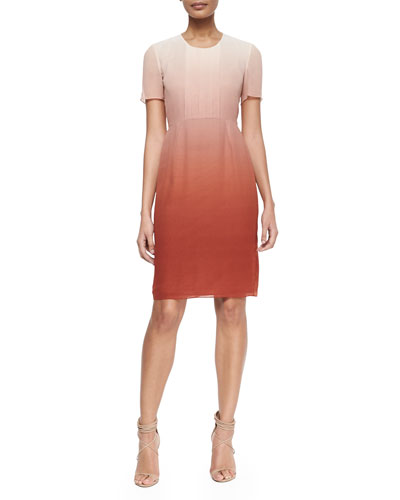 Degrade Pleated-Bib Dress, Russet