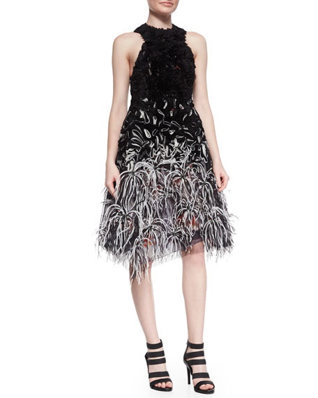 Prabal Gurung Ruffled Organza Feather-Embellished Dress