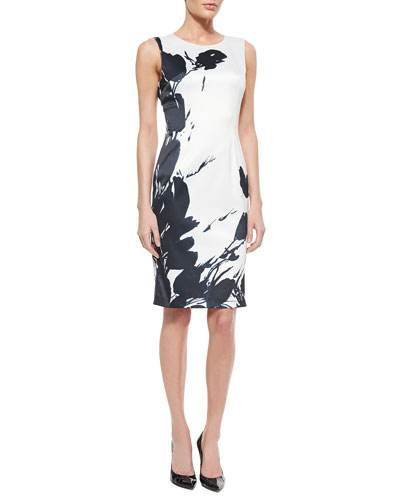 Tulip-Print Stretch Satin Sheath Dress