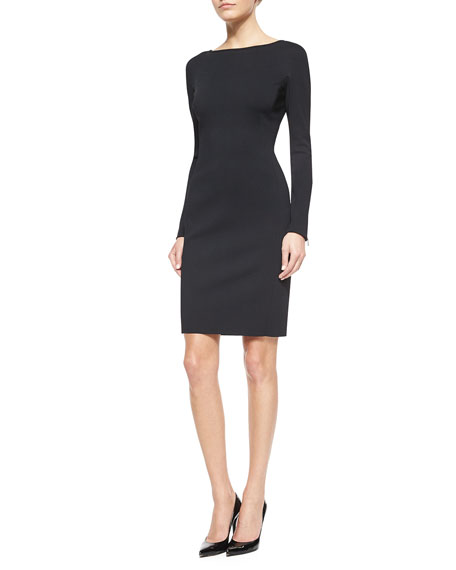 St. John Collection Luxe Sculpture Knit Long-Sleeve Dress