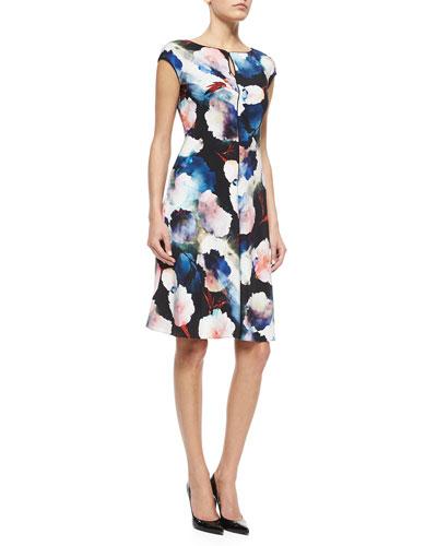 Shadow Rose-Print Stretch Silk Dress