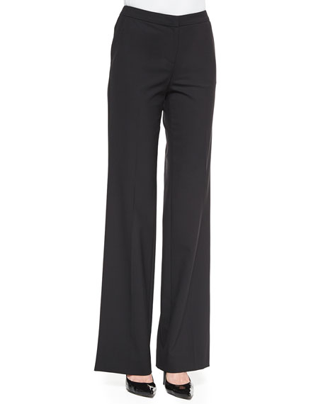 St. John Collection Tropical Modern Stretch Wide-Leg Pants