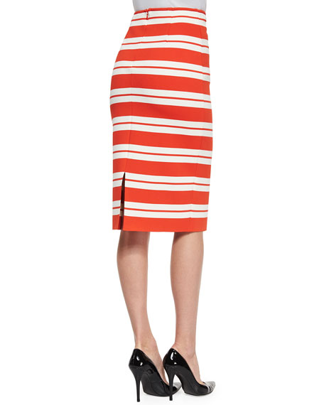Luxe Striped Knit Pencil Skirt