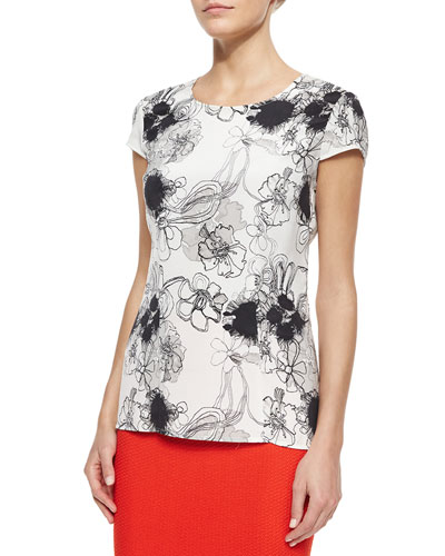 Inkblot Floral-Print Stretch Silk Shirt