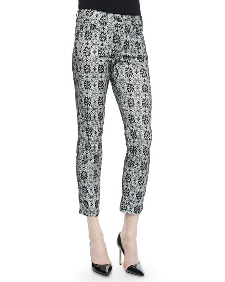 Escada Floral Lace-Print Cropped Jeans