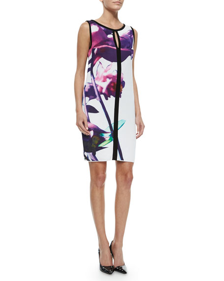 Escada Floral-Print Contrast-Trimmed Shift Dress