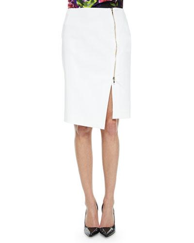 Asymmetric Zip-Slit Pencil Skirt, White