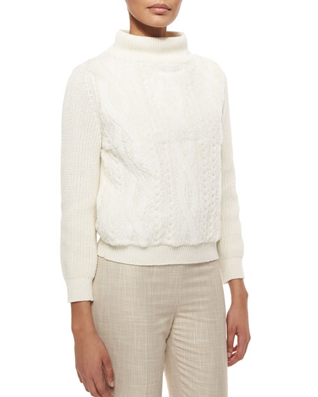 Carolina Herrera Rabbit Fur & Wool Cable-Knit Sweater