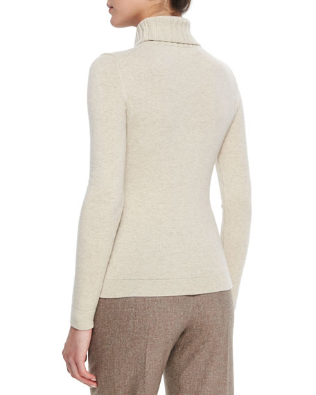 Cashmere Wide Rib-Trim Turtleneck Sweater