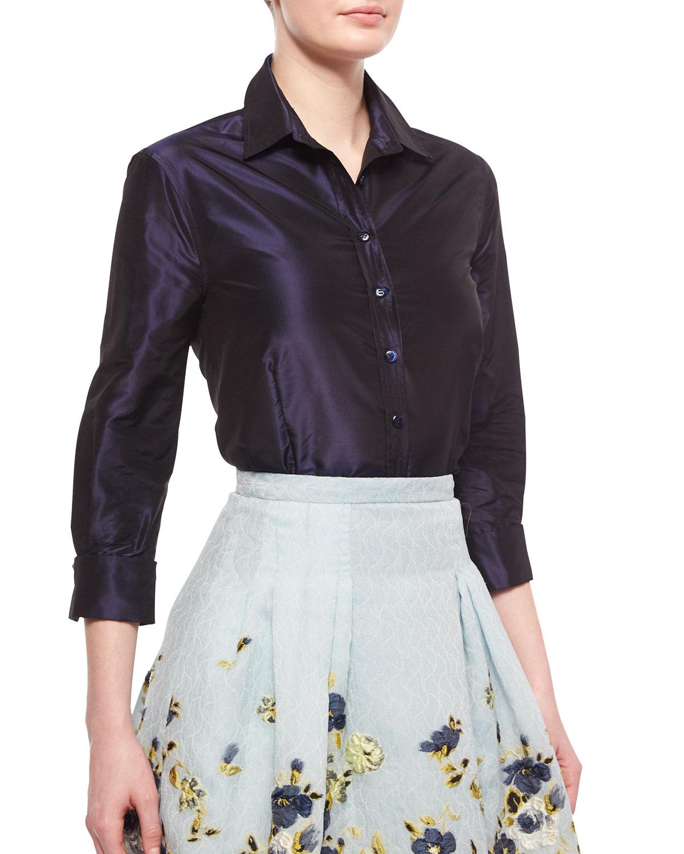 97496d782e3f0 Carolina Herrera Taffeta Button-Down Shirt