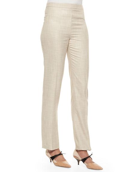 Carolina Herrera Speckled Skinny-Leg Trouser, Dove Gray