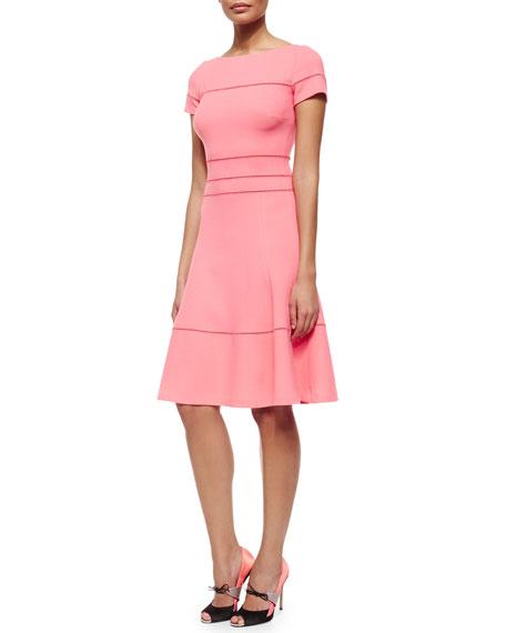 Carolina Herrera Hemstitched Fit-And-Flare Dress