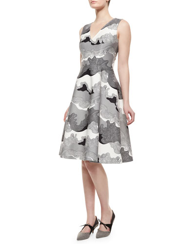 Lava-Print Fit-And-Flare Dress