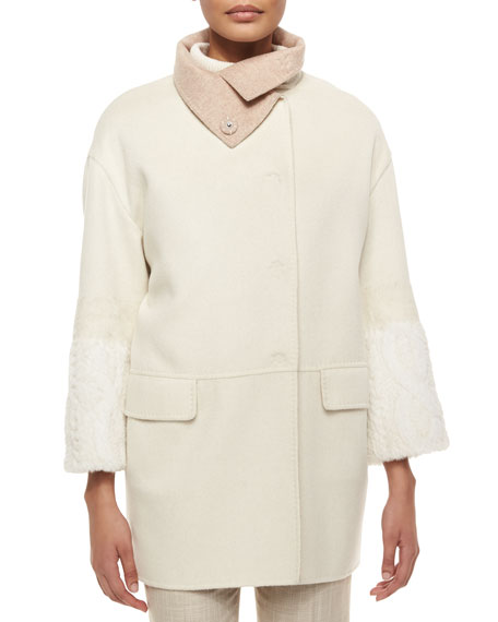 Carolina Herrera Rabbit-Sleeve Funnel-Collar Cashmere Coat