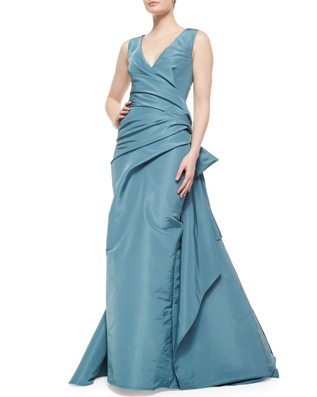 Surplice Draped Bow-Detailed Gown, Blue