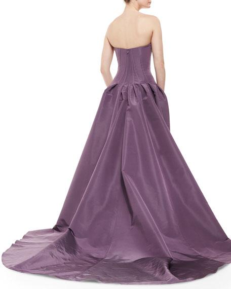 Strapless Overlay Column Gown