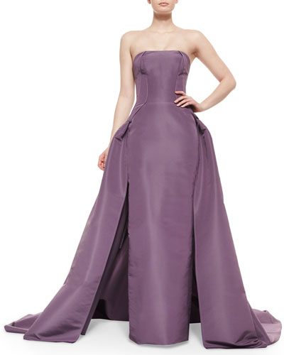Strapless Overlay Column Gown