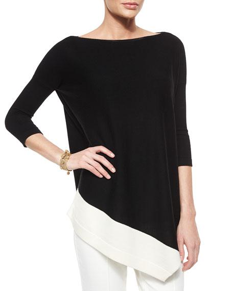 St. John Collection Merino Wool Asymmetric-Hem Sweater