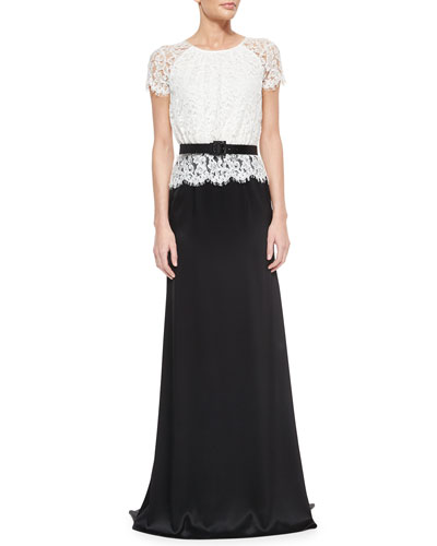 Scalloped Plume Lace & Satin Gown