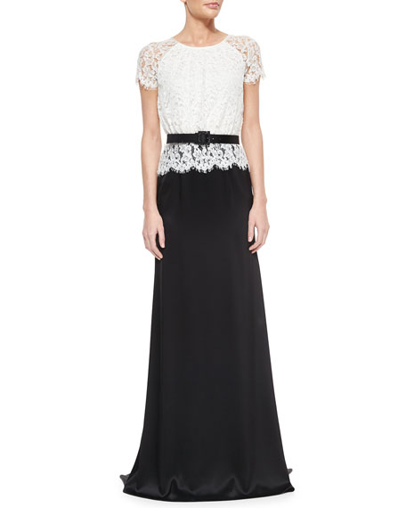 St. John Collection Scalloped Plume Lace & Satin