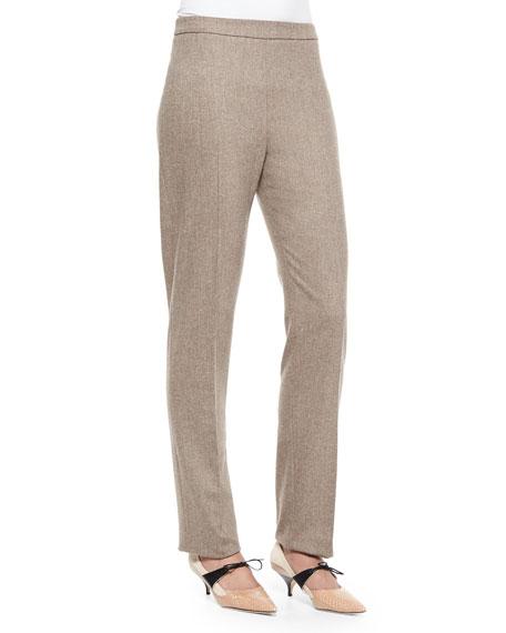 Carolina Herrera Stretch-Wool Skinny-Fit Pants, Brown