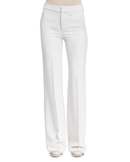 Chloe Crepe Sable Flare-Leg Pants, Light Gray