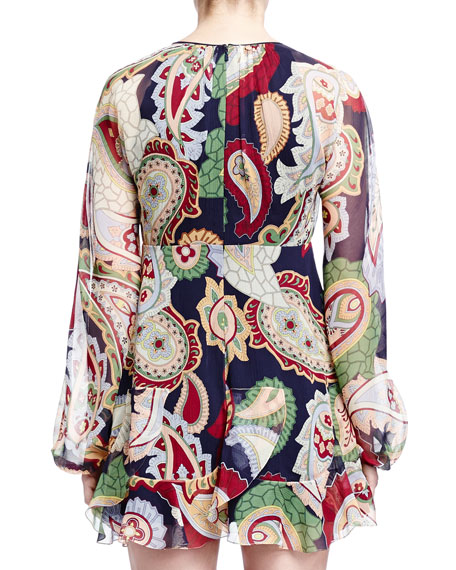 L/S TIE TOP LARGE PAISLEY SI