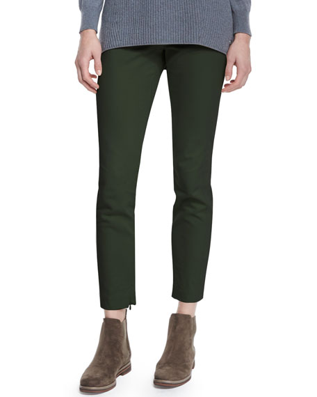 Loro Piana Devin Skinny Ankle Pants, Juniper Dark Green