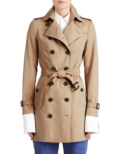 Woven Mid-Length Trenchcoat, Honey