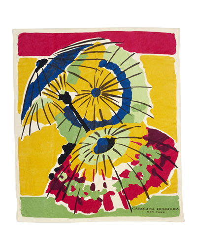 Parasol-Print Oversized Beach Towel