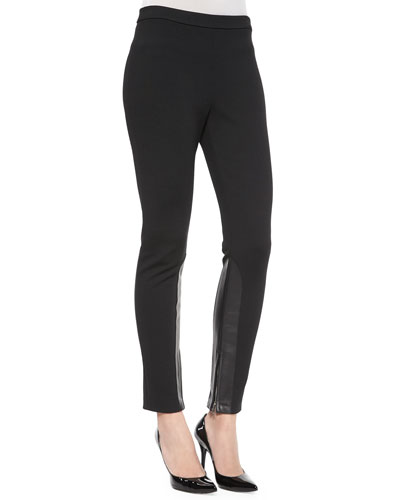 Leather-Inset Cropped Leggings