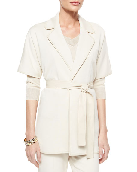St. John Collection Milano Knit Short-Sleeve Tie Jacket