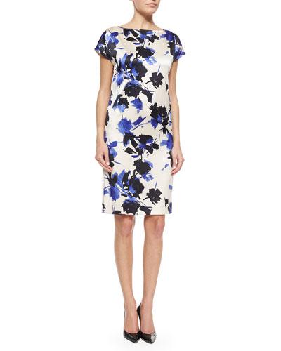 Desert Floral-Print Stretch Silk Dress