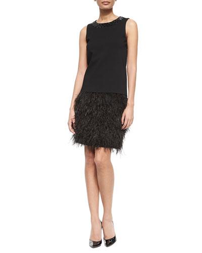 Jeweled Feather-Fringe Drop-Waist Dress